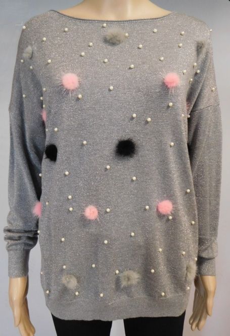 Feinstrick Pullover mit Kunstfell