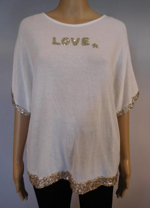 """Tunika Sweatshirt mit Pailetten """"Love"""""""