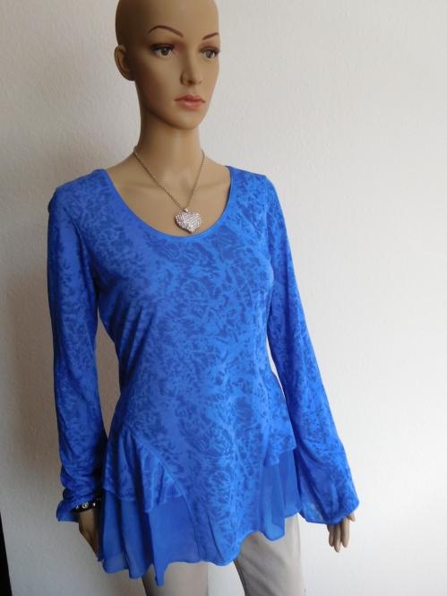 Shirt mit durchsichtigen Muster Blau