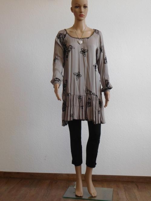 Damen Klaeid mit Rüschen Longshirt Tunika Minikleid