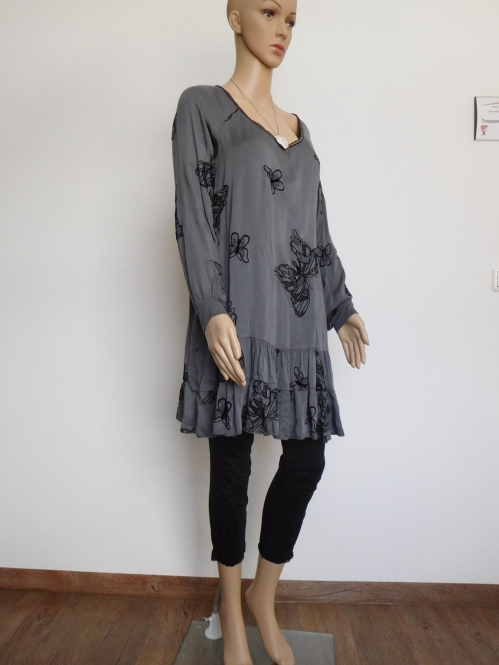 Damen Kleid mit Rüschen Longshirt Tunika Mini Langarm