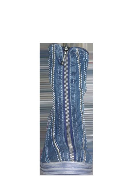 Jeansstiefelette mit Keilabsatz
