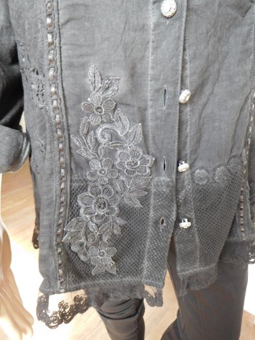 Hemdbluse mit Stickerei in Anthrazit