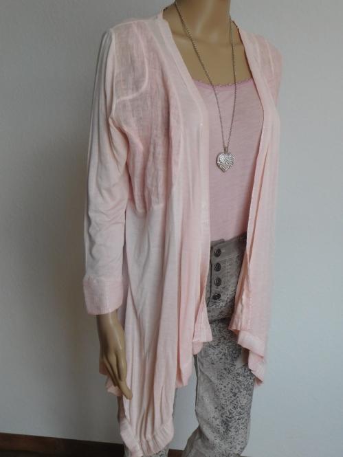Offene Jacke aus Leinen in Pastellrosa